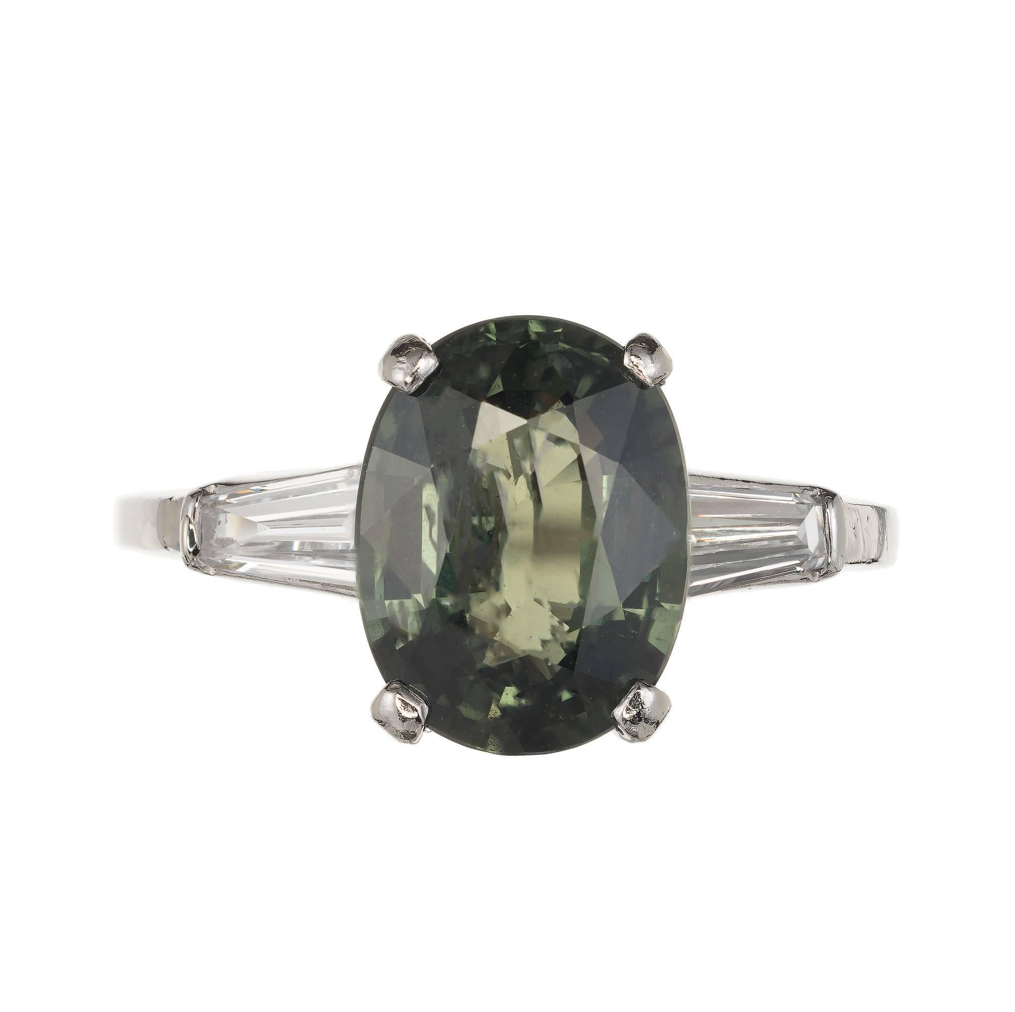 GIA Certified 3.80 Carat Natural Green Sapphire Diamond Platinum Engagement Ring