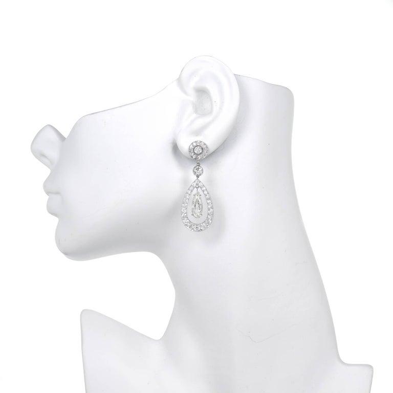 Cartier Paris GIA Certified 7.89 Carat Diamond Platinum Dangle Earrings 4