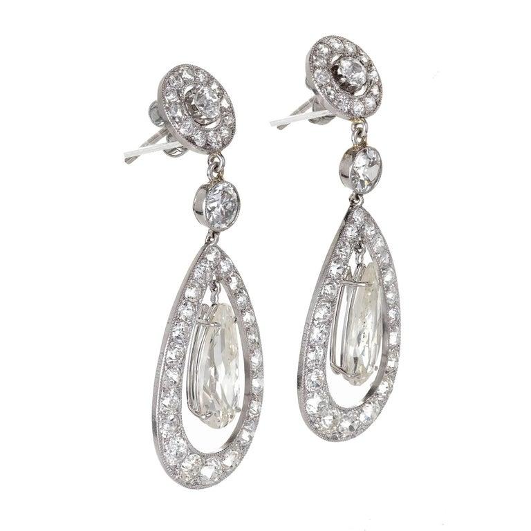 Cartier Paris GIA Certified 7.89 Carat Diamond Platinum Dangle Earrings 3