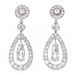 Cartier Paris GIA Certified 7.89 Carat Diamond Platinum Dangle Earrings