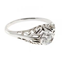 Art Deco Filigree Diamond Brilliant European Cut Gold Engagement Ring