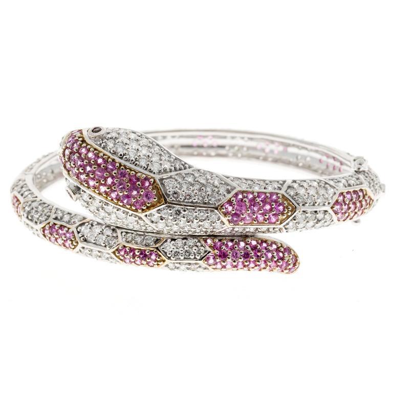 Round Cut 11.88 Carat Sapphire Ruby Diamond Gold Snake Bangle Bracelet For Sale