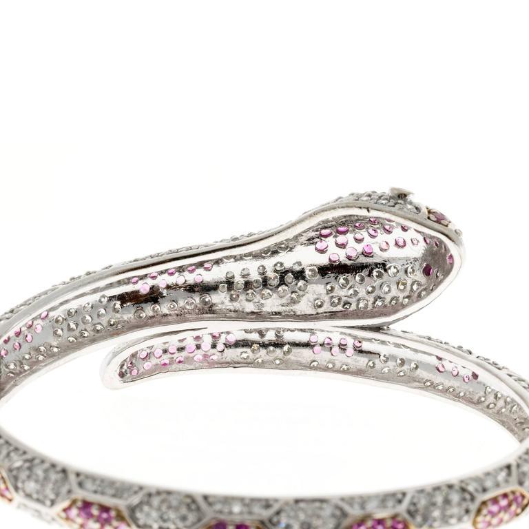 11.88 Carat Sapphire Ruby Diamond Gold Snake Bangle Bracelet For Sale 4