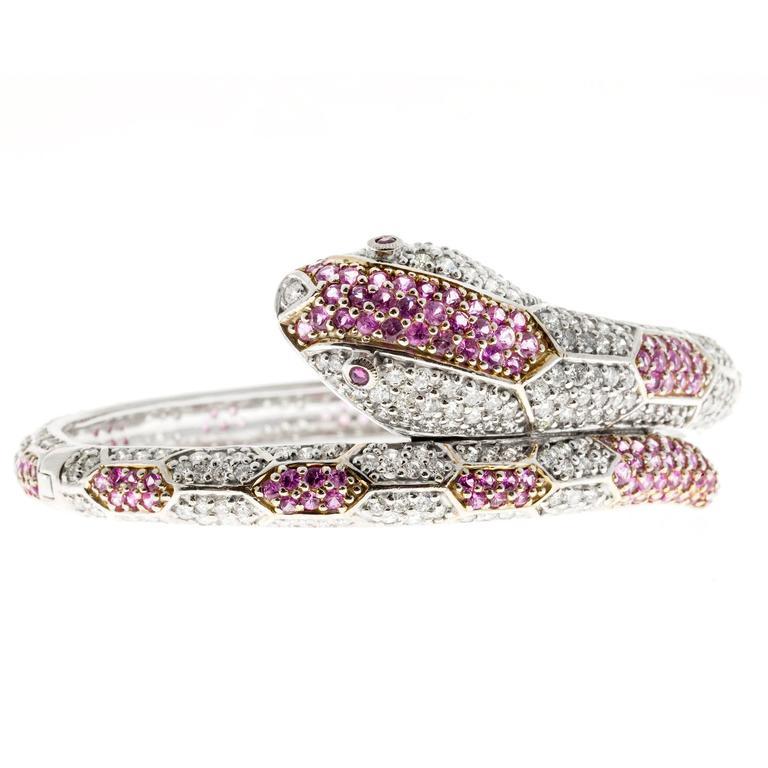 11.88 Carat Sapphire Ruby Diamond Gold Snake Bangle Bracelet For Sale 1