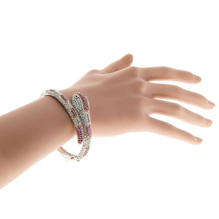11.88 Carat Sapphire Ruby Diamond Gold Snake Bangle Bracelet For Sale 2