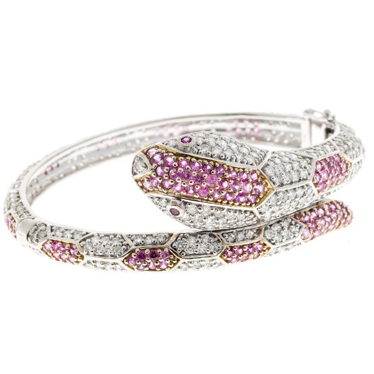 11.88 Carat Sapphire Ruby Diamond Gold Snake Bangle Bracelet For Sale 3