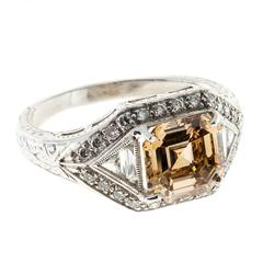Peter Suchy Yellow and Brown Diamond Platinum Engagement Ring