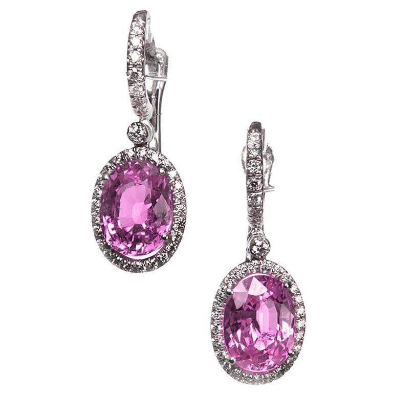 Mark Patterson Pink Sapphire Diamond Gold Halo Earrings
