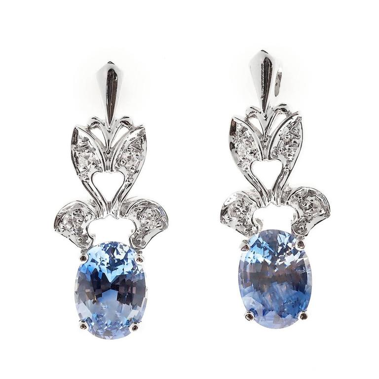1950s Oval Sapphire Diamond Gold Dangle Earrings 2