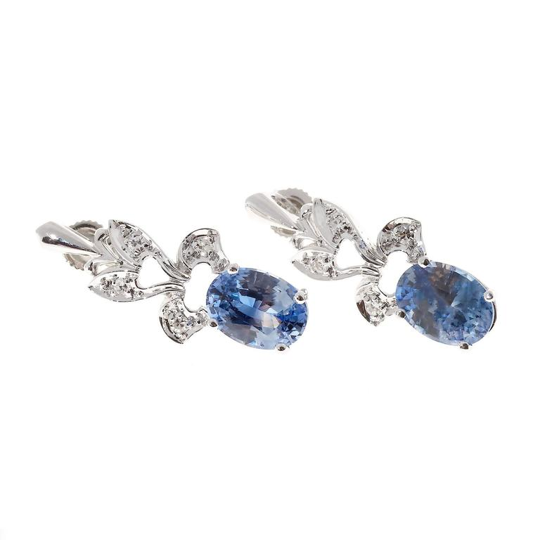 1950s Oval Sapphire Diamond Gold Dangle Earrings 6