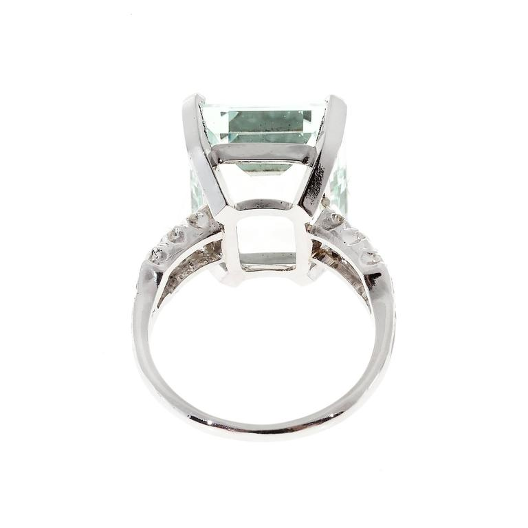 Art Deco 10.60 Carat  Aquamarine Diamond Platinum Ring 7