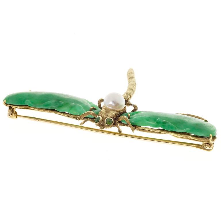 Natural Jadeite Jade Akoya Pearl Garnet Gold Dragonfly Pin 3