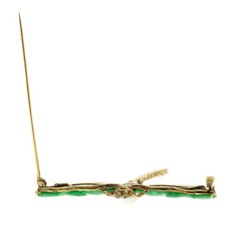 Natural Jadeite Jade Akoya Pearl Garnet Gold Dragonfly Pin 2