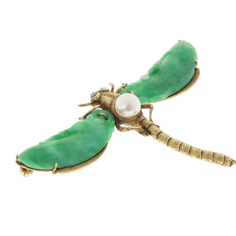 Natural Jadeite Jade Akoya Pearl Garnet Gold Dragonfly Pin 5