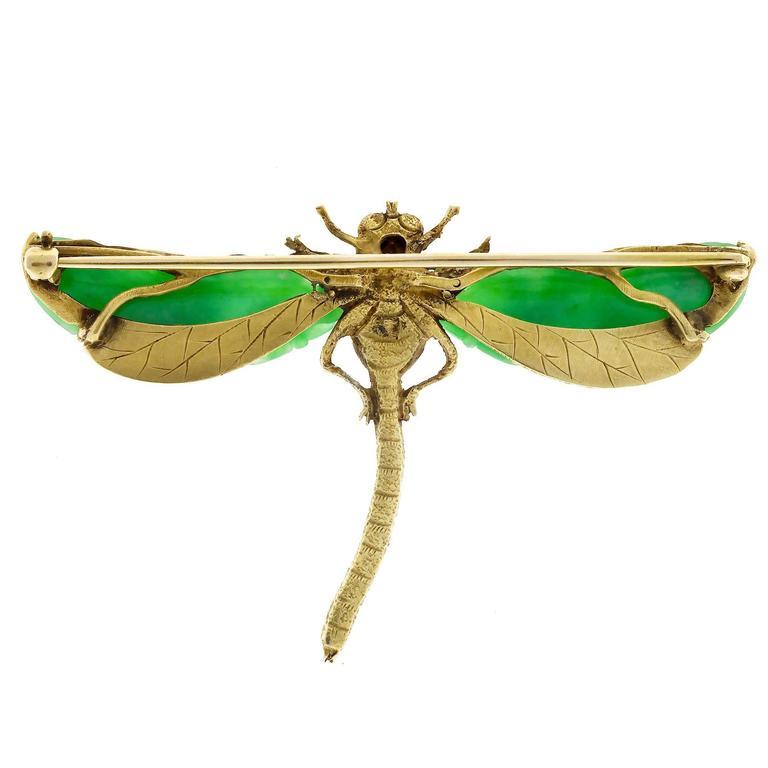 Natural Jadeite Jade Akoya Pearl Garnet Gold Dragonfly Pin 6