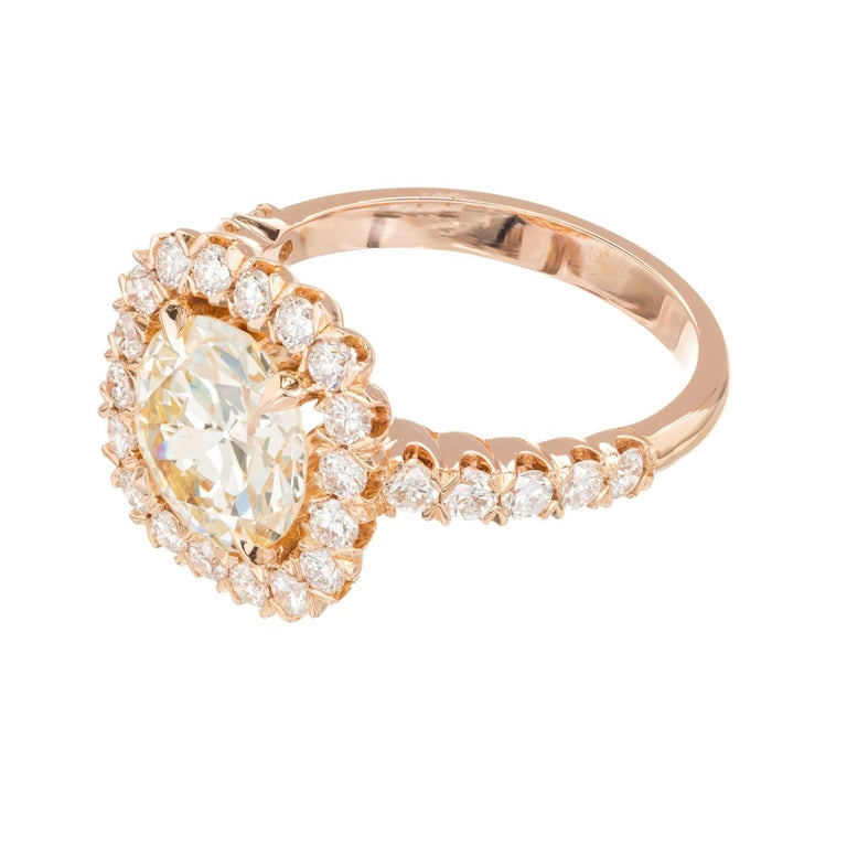 GIA Certified Peter Suchy 2.43 Carat Diamond Halo Rose Gold Engagement Ring For Sale 1