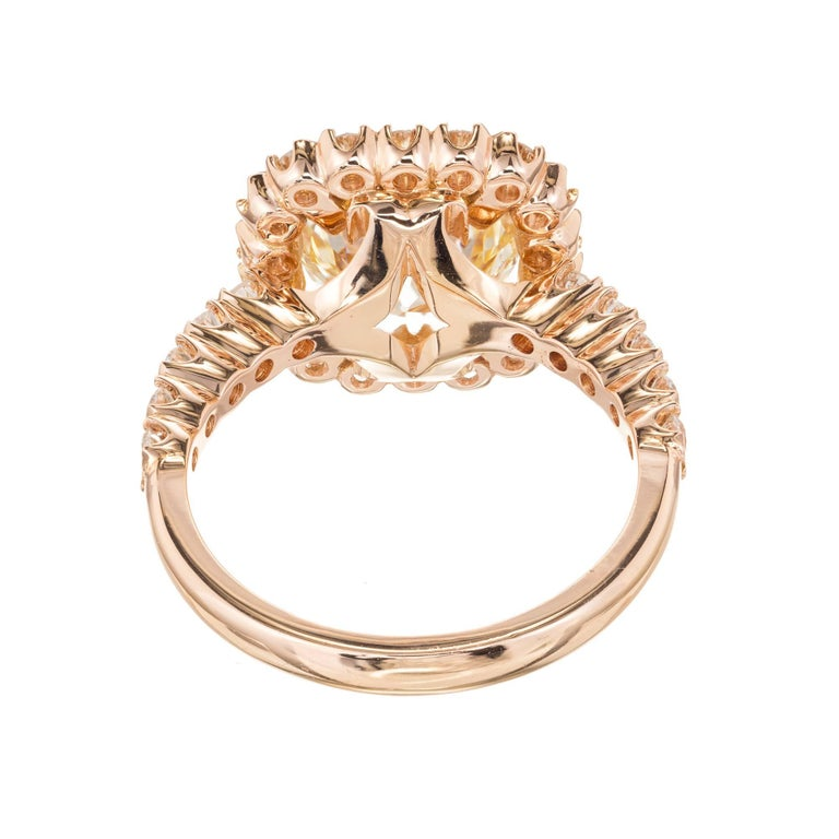 GIA Certified Peter Suchy 2.43 Carat Diamond Halo Rose Gold Engagement Ring For Sale 3