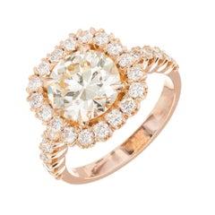 GIA Certified Peter Suchy 2.43 Carat Diamond Halo Rose Gold Engagement Ring
