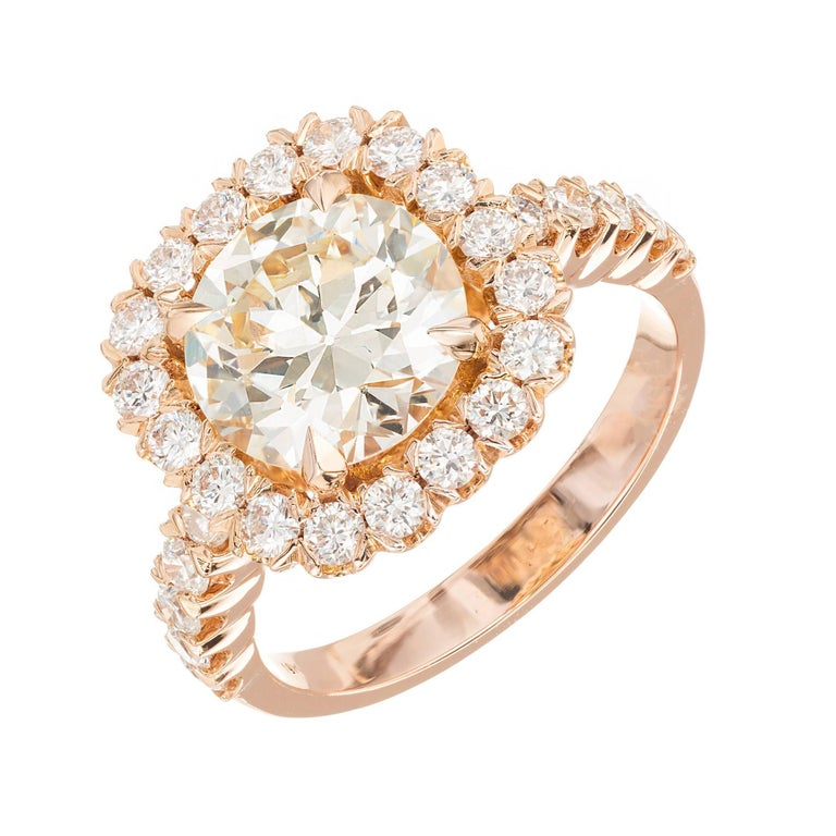 GIA Certified Peter Suchy 2.43 Carat Diamond Halo Rose Gold Engagement Ring For Sale
