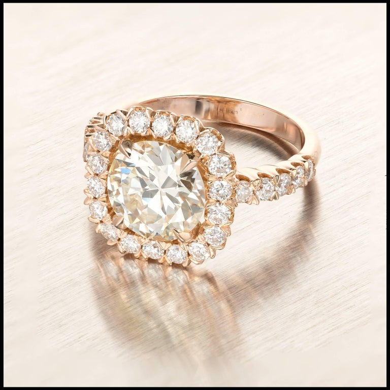 GIA Certified Peter Suchy 2.43 Carat Diamond Halo Rose Gold Engagement Ring In Good Condition For Sale In Stamford, CT