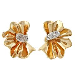 Diamond Fan Style Gold Earrings