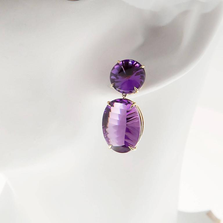 Peter Suchy Natural Purple Amethyst Fantasy Cut Gold Dangle Earrings 6