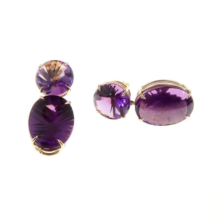 Peter Suchy Natural Purple Amethyst Fantasy Cut Gold Dangle Earrings 5