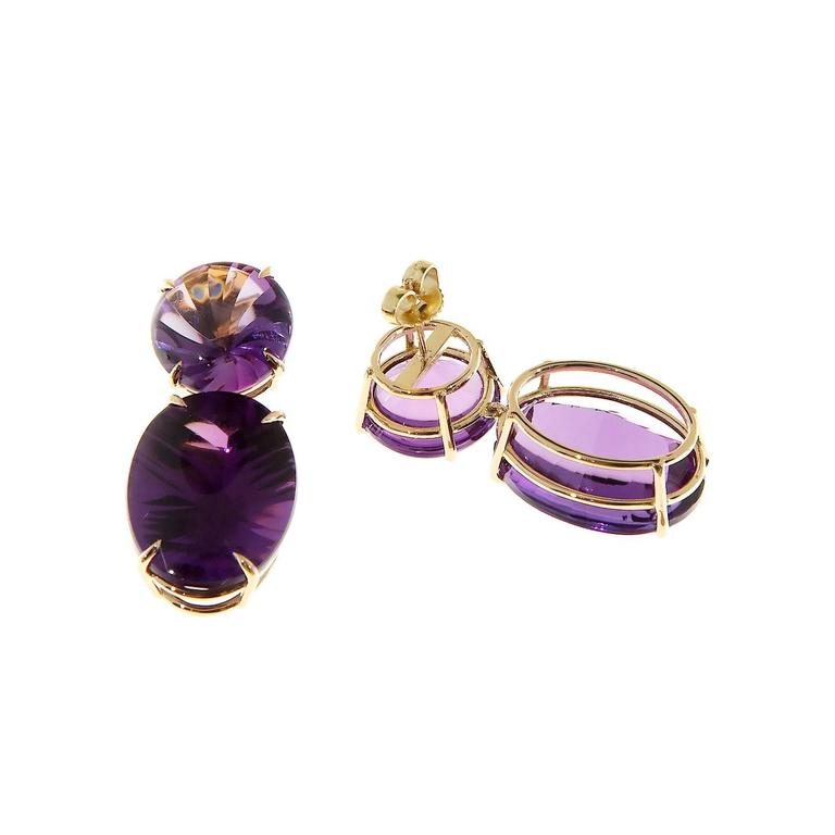 Peter Suchy Natural Purple Amethyst Fantasy Cut Gold Dangle Earrings 3