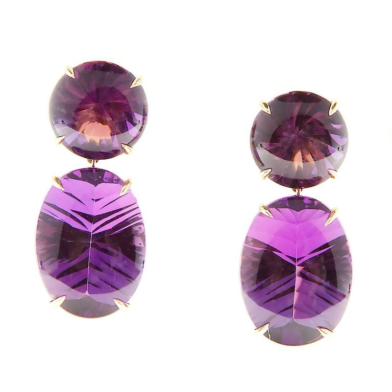 Peter Suchy Natural Purple Amethyst Fantasy Cut Gold Dangle Earrings 2