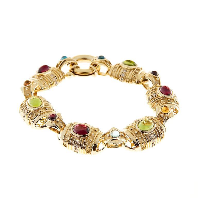 Etruscan Byzantine Garnet Peridot Citrine Topaz Diamond Gold Bracelet 3