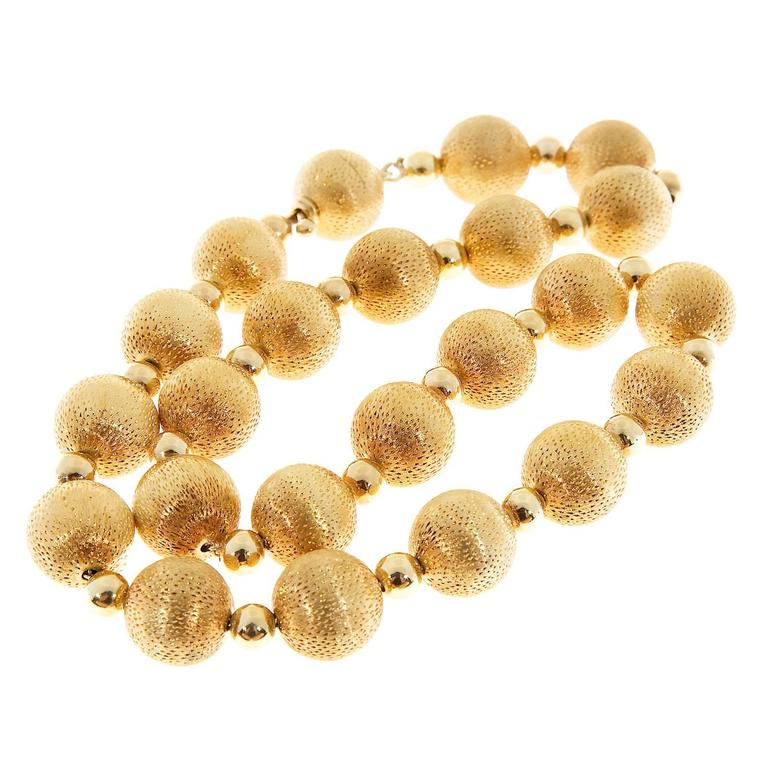 Women's Textured Gold Beaded Necklace For Sale