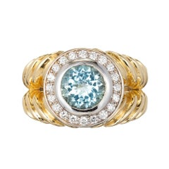 1.63 Carat Aquamarine Diamond Halo Two-Color Gold Swirl Cocktail Ring