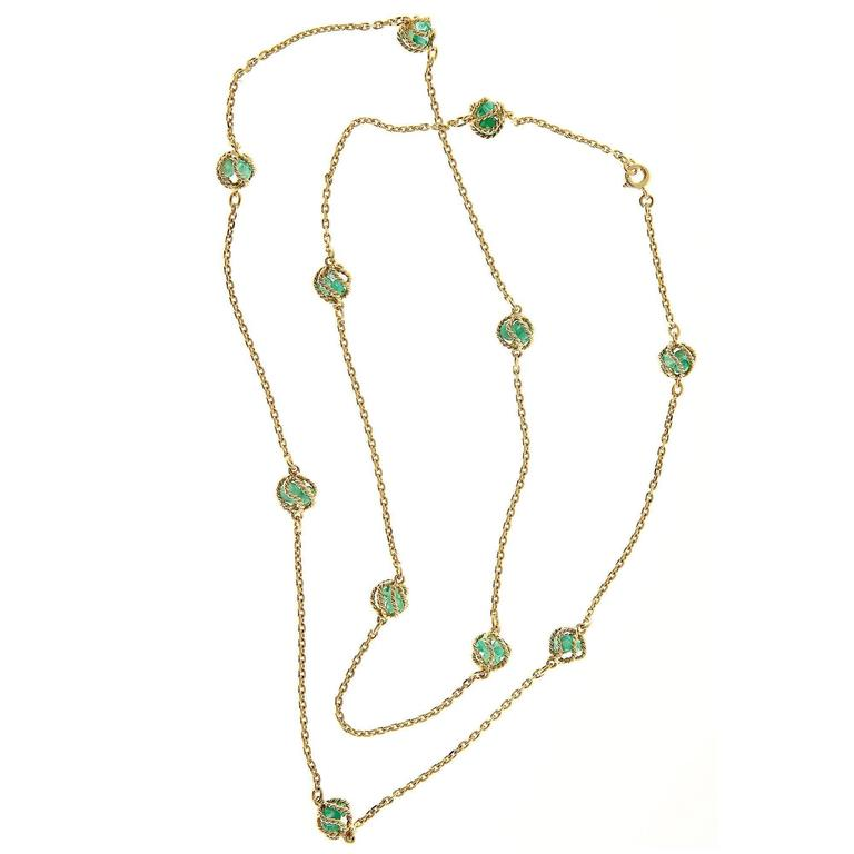 Mellerio Meller Emerald By The Yard Gold Chain Necklace For Sale