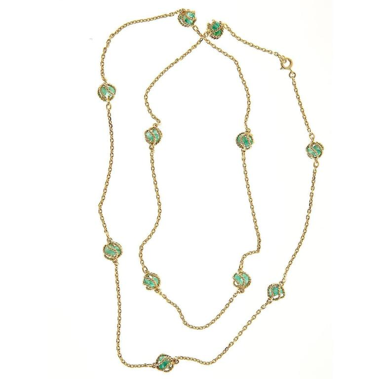Mellerio Meller Emerald By The Yard Gold Chain Necklace 3