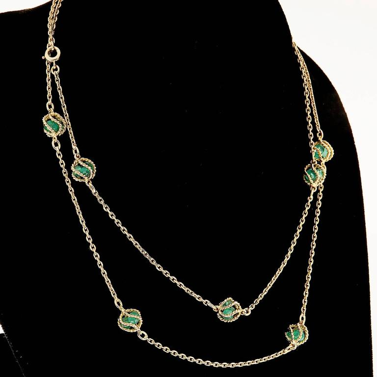 Mellerio Meller Emerald By The Yard Gold Chain Necklace 6
