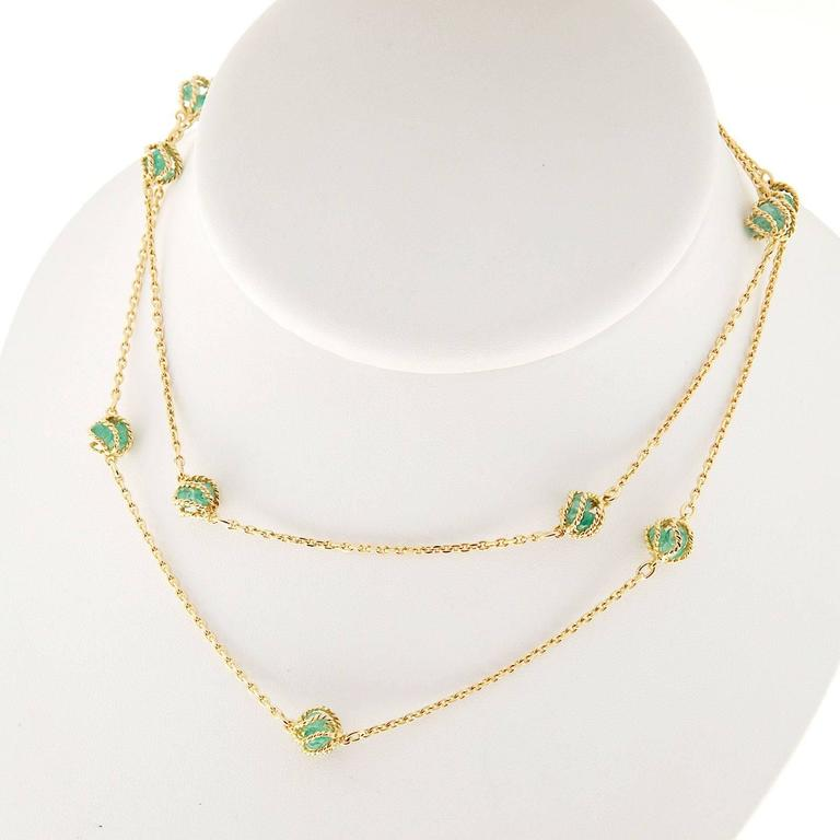 Mellerio Meller Emerald By The Yard Gold Chain Necklace 7