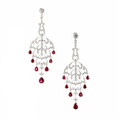 Natural Ruby Diamond Chandelier Dangle Earrings
