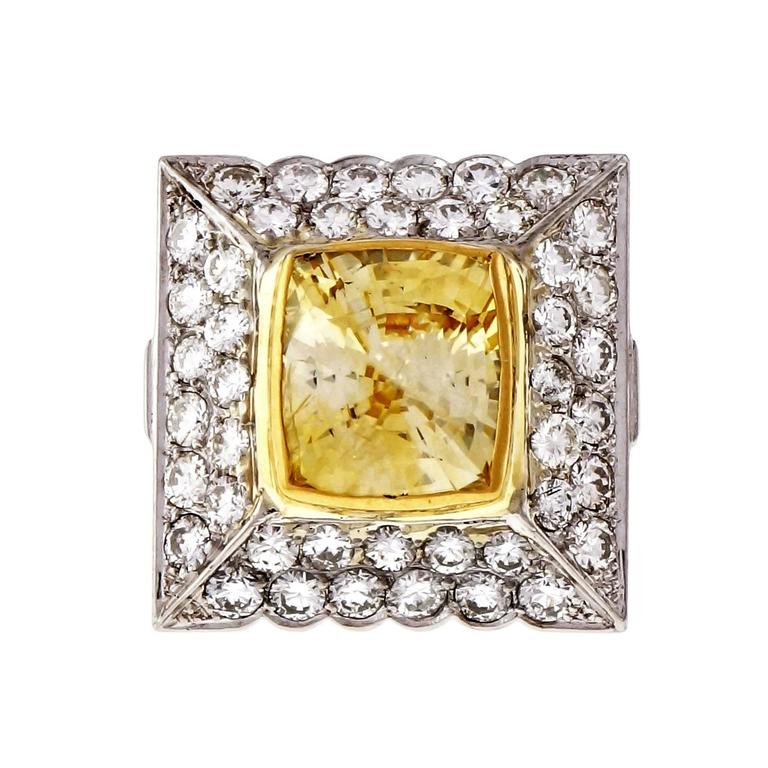 1950s French Natural Sapphire Diamond Platinum Ring In Good Condition For Sale In Stamford, CT