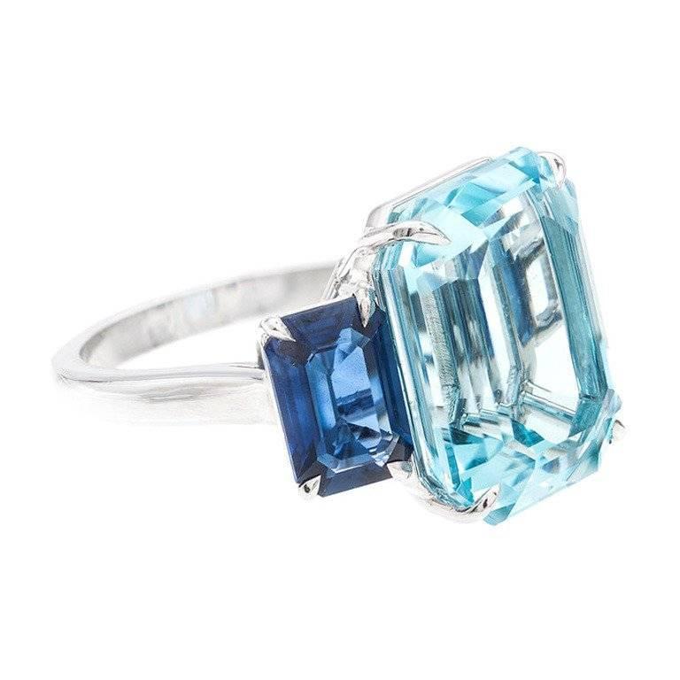 Natural Aquamarine Sapphire Platinum Three Stone Ring For Sale 3