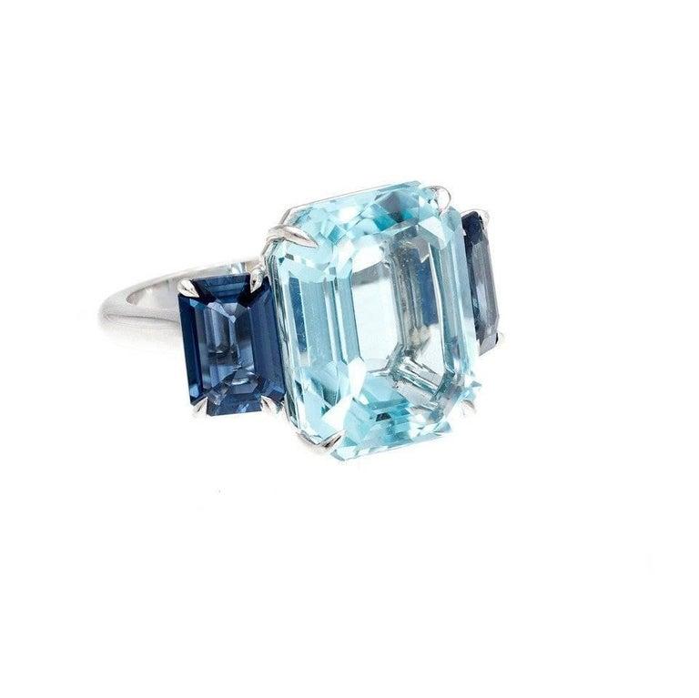 Natural Aquamarine Sapphire Platinum Three Stone Ring For Sale 4