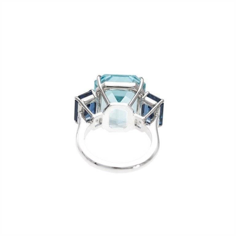Natural Aquamarine Sapphire Platinum Three Stone Ring For Sale 5