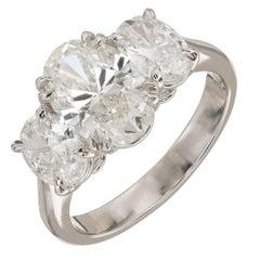 Peter Suchy 2.01 Carat Oval Diamond Platinum Three-Stone Engagement Ring