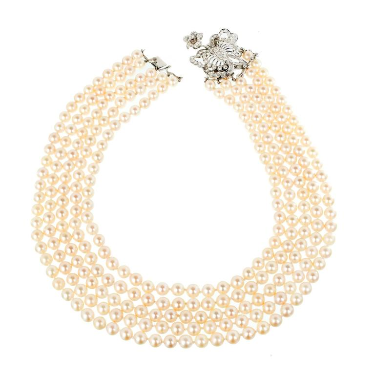 Multi Strand Pearl Diamond White Gold Necklace 2