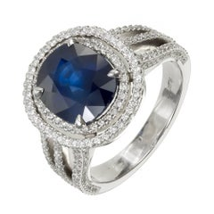 GIA Certified 3.99 Carat Royal Blue Sapphire Diamond Double Halo Engagement Ring