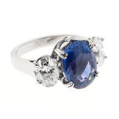Peter Suchy Oval Violet Sapphire Diamond Platinum Engagement Ring
