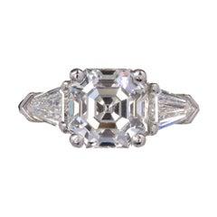 Peter Suchy Asscher Diamond Engagement Ring Platinum Bullet Cut Side Diamond