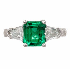 Peter Suchy 1.73 Carat Emerald Diamond Platinum Three-Stone Engagement Ring