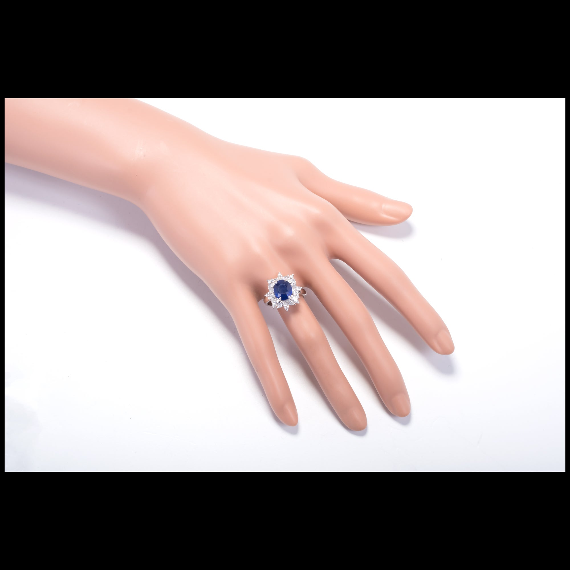 3.93 Carat Royal Blue Sapphire Marquise Diamond Platinum Engagement ...