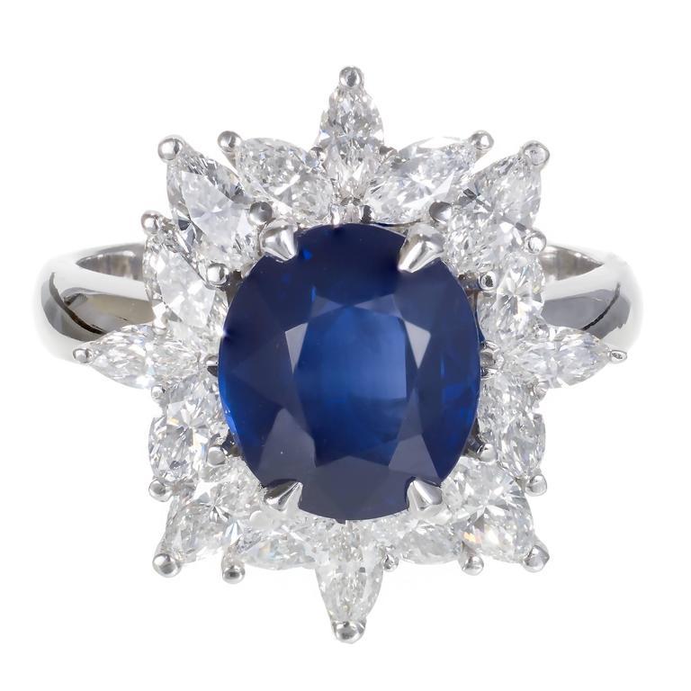 3.93 Carat Royal Blue Sapphire Marquise Diamond Platinum Engagement Ring 1