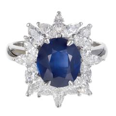 3.93 Carat Royal Blue Sapphire Marquise Diamond Platinum Engagement Ring